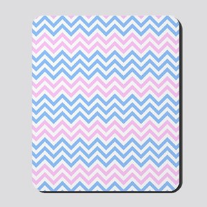 Pink and Blue Chevrons Mousepad