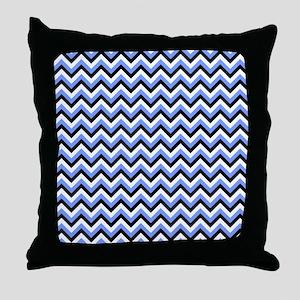 Black,Blue, and White Chevrons Throw Pillow