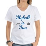 Flyball Is Fun JAMD Women's V-Neck T-Shirt