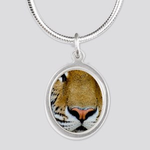 Tiger Silver Oval Necklace