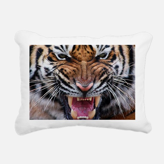 Big Cat Tiger Roar Rectangular Canvas Pillow