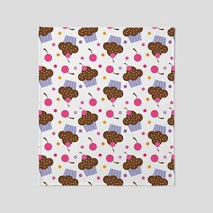 Cute Cupcake Chocolate Throw Blanket