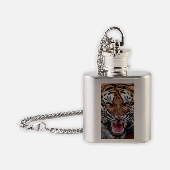 Big Cat Tiger Roar Flask Necklace