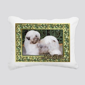 Lhasa Apso Dog Christmas Rectangular Canvas Pillow
