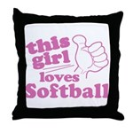 This Girl Loves Softball Throw Pillow