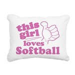 This Girl Loves Softball Rectangular Canvas Pillow