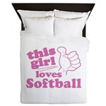 This Girl Loves Softball Queen Duvet