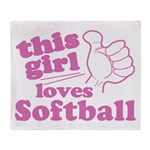 This Girl Loves Softball Throw Blanket
