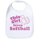 This Girl Loves Softball Bib