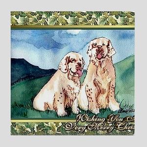 Clumber Spaniel Dog Christmas Tile Coaster