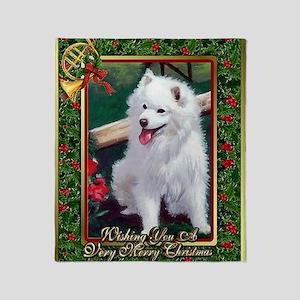 Japanese Spitz Dog Christmas Throw Blanket