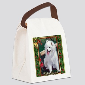 Japanese Spitz Dog Christmas Canvas Lunch Bag