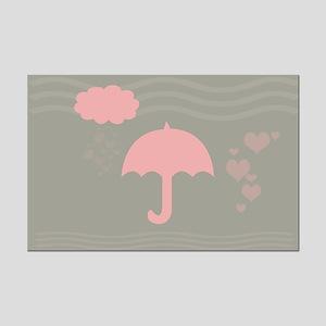 Cute Hearts Rain Mini Poster Print