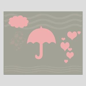Cute Hearts Rain Small Poster