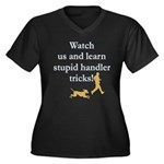 Stupid Handler Tricks Women's Plus Size V-Neck Dar