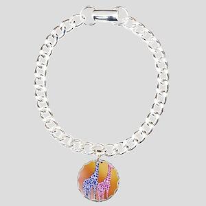 Blue and Purple Giraffes Charm Bracelet, One Charm