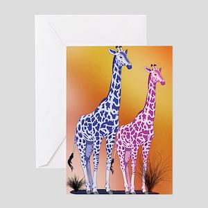 Blue and Purple Giraffes Greeting Card