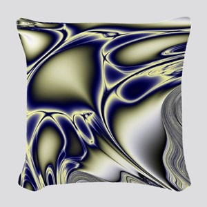 Silver Blue Sting Ray Fractal Woven Throw Pillow