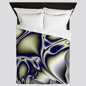 Silver Blue Sting Ray Fractal Queen Duvet