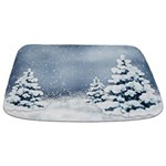 Cute Snowy Pine Trees Bathmat