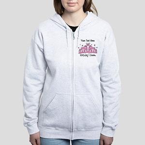 Personalized Tiara Birthday Queen Women's Zip Hood
