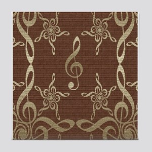 Treble Clef Star Musical Tile Coaster
