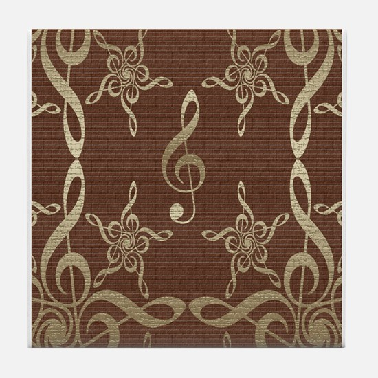 Treble Clef Star Musical Tile Coaster