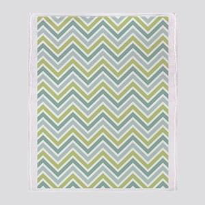 Chevrons Pattern with green and blue Throw Blanket