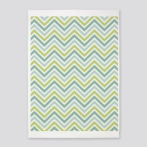 Chevrons Pattern with green and blu 5'x7'Area Rug
