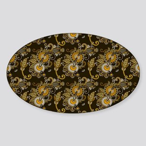 Gold and Brown Paisley Sticker (Oval)