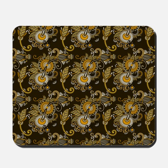 Gold and Brown Paisley Mousepad