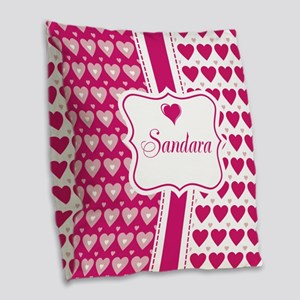 Pink Heart Pattern Name Burlap Throw Pillow