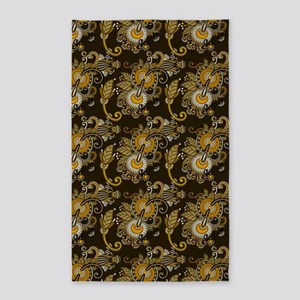 Gold and Brown Paisley 3'x5' Area Rug