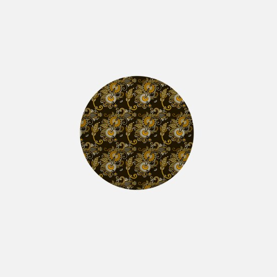 Gold and Brown Paisley Mini Button