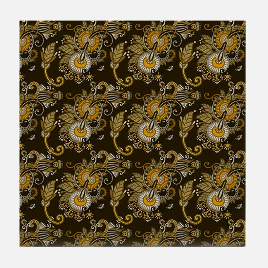 Gold and Brown Paisley Tile Coaster