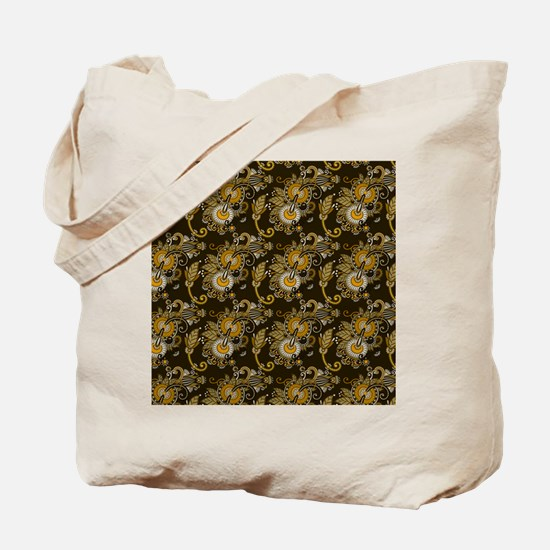 Gold and Brown Paisley Tote Bag