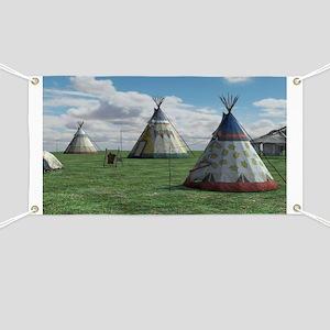 Native American Village Banner