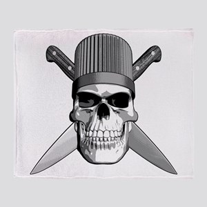 Skull Chef Knives Throw Blanket