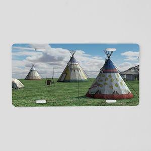 Native American Village Aluminum License Plate