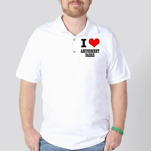 I Heart (Love) Amusement Parks Golf Shirt