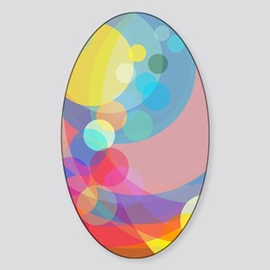 Floating Colorful Spheres Sticker (Oval)