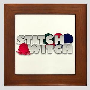 Knitting Stitch Witch Framed Tile