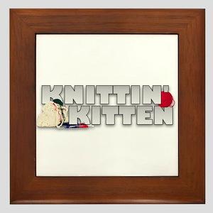 Knitting Knittin' Kitten Framed Tile