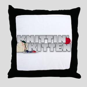 Knitting Knittin' Kitten Throw Pillow