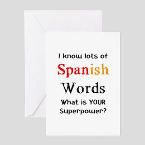 Spanish teacher greeting cards cafepress spanish words greeting card m4hsunfo