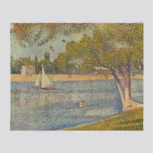 The Seine and la Grande Jatte Throw Blanket