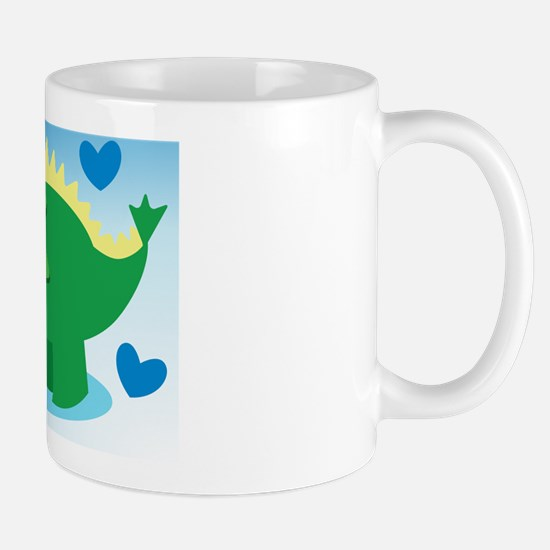 Dinosaur green on a blue background Mug