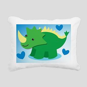 Dinosaur green on a blue Rectangular Canvas Pillow