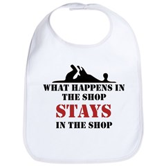 What Happens In The Shop Bib