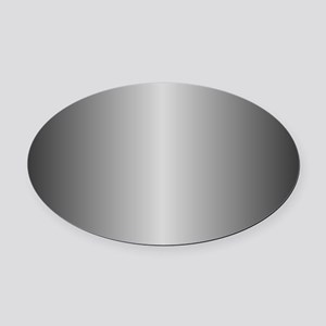 Grey Metallic Shiny Oval Car Magnet